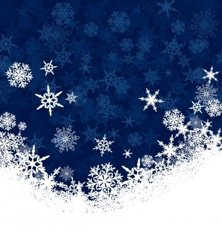 saludo: Copos de nieve del copo de nieve - tarjeta de Navidad de fondo con copia espacio