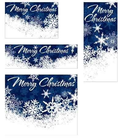 Sneeuwvlokken - Snowflake Web Banners met Copy Space Stock Illustratie