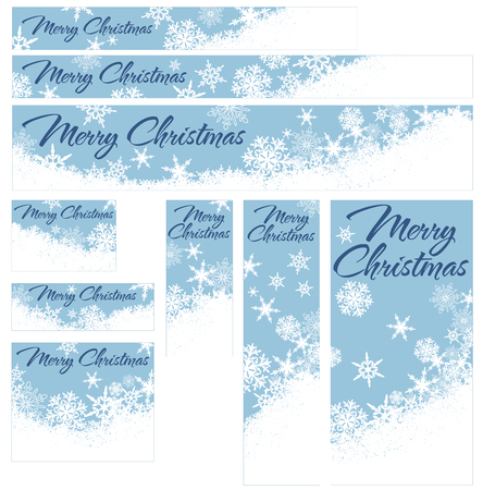 Snowflakes - Snowflake Web Banners with Copy Space Stock Vector - 23210510