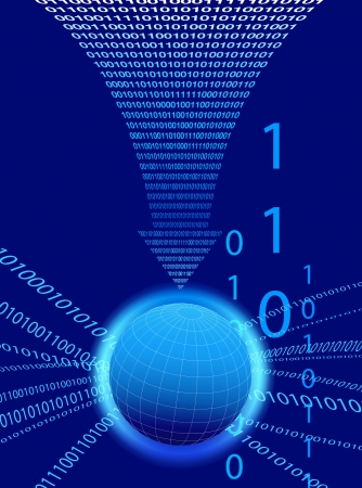 Data Background - Binary Code Technology Stream with Globe Vector