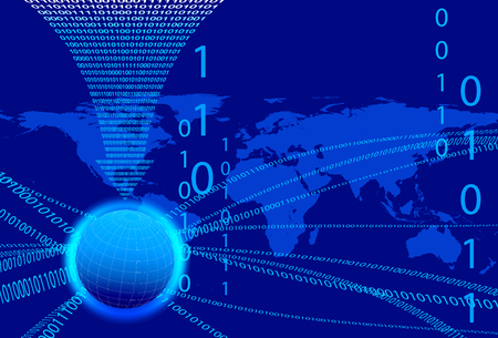 computer program: Global Communication Concept - Technology stream and globe with data arrow