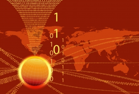 Global Communication Concept - Technology stream and globe with data arrow Vector