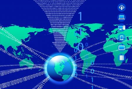 Global Communication Concept - Technology stream and globe America Illustration