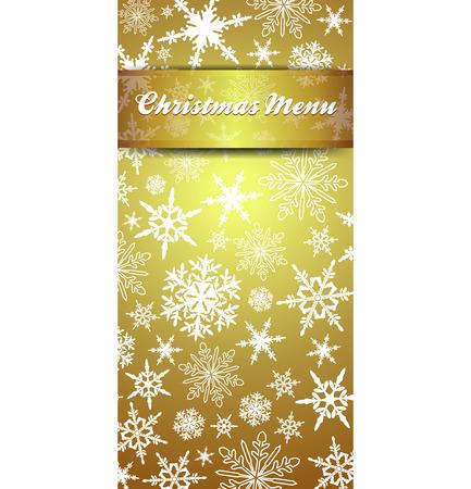 christmas menu: Christmas Menu Snowflakes - Gold Snowflake Background