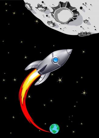 Spaceship argent en direction de la Lune Banque d'images - 25307811