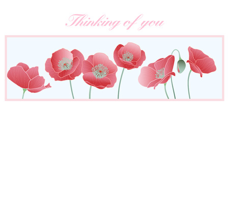 Thinking of you Card - Poppies - Thinking of you in difficult times Stock Vector - 26035043