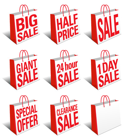 SALE Shopping Bags Icon - Carrier Bag Symbol Vector
