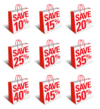 25 to 30: Save Shopping Bag Icon - Reduced Price Symbol Carrier Bag - SET ONE