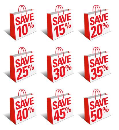shopping bag icon: Speichern Einkaufstasche Icon - Erm��igt Symbol Tragetasche - SET ONE