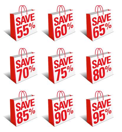80 85: Save Shopping Bag Icon Carrier Bag, Reduced Price Symbol - SET TWO Illustration
