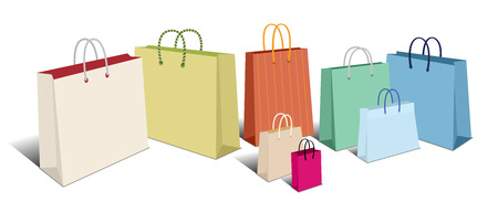 Retro Shopping Bags, Carrier Bags Icons Symbols  Vector
