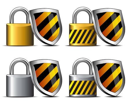 Padlock and Shield Icon - safeguard your transaction secure Stock Vector - 26057720