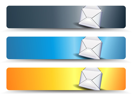 email web banners in three different colors Vector
