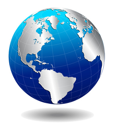 North, South America, Europe, Africa Silver Global World Vector