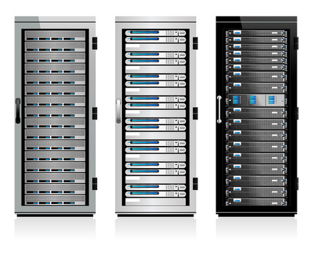 data center: Three Servers - Server in Cabinets