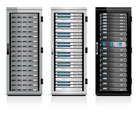 Trzy serwery - Serwer w szafach Ilustracje wektorowe