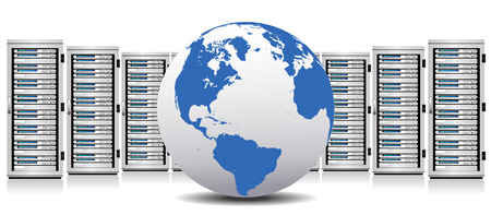 Fila de los servidores de la nube de la red con el globo