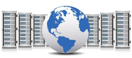 Row of Network Cloud Servers with Globe Фото со стока - 27163715