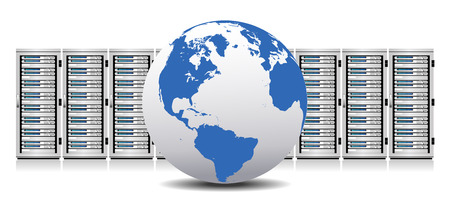 Network Servers with Globe - Information technology conceptual image Illustration