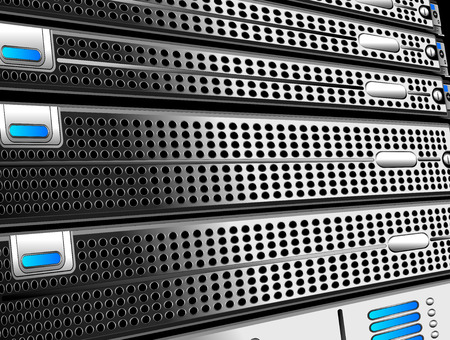 Rack of Servers at an angle