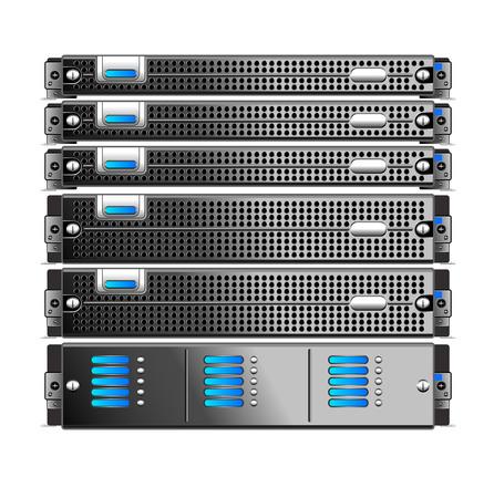 Rack, z pięciu serwerów