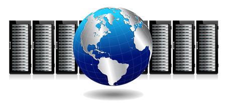 centro de computo: Tecnología de la información de imagen conceptual - Servidores de red con el globo Vectores