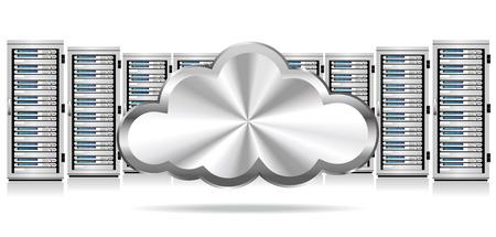 meseros: Fila de servidores de red con el icono de la nube Vectores