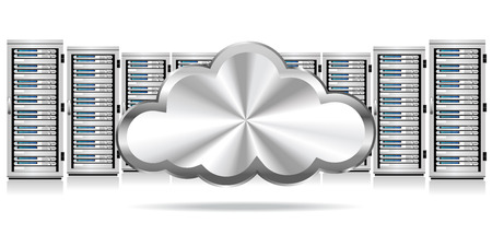 Row of Network Servers with Cloud Icon Vector