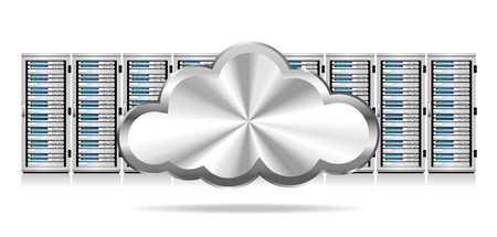 webhosting: Servers - Information technology conceptual image  with Cloud Icon