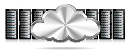 server room: Servers - Information technology conceptual image with Cloud Icon