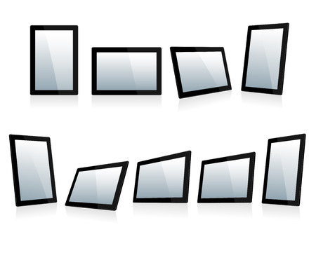 Selection of Mini Tablets at different angles  Vector