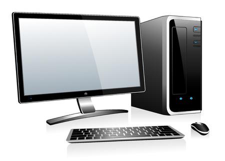 3D Computer met monitor toetsenbord en muis
