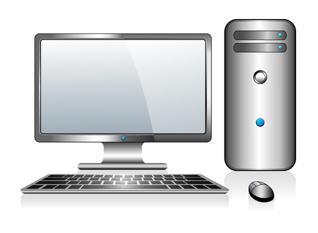 Computer with Monitor Keyboard and Mouse Ilustracja