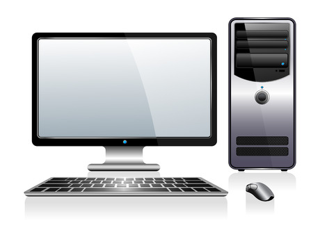 Computer with Monitor Keyboard and Mouse Vector
