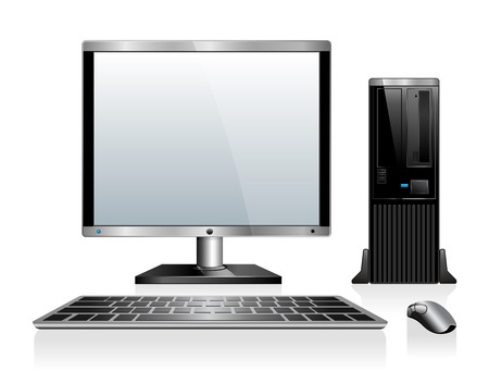 workstation: Computer with Monitor Keyboard and Mouse Illustration