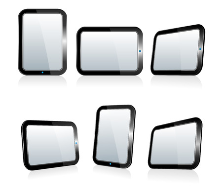 Black Touch Screen Tablets In iPad Style Vector