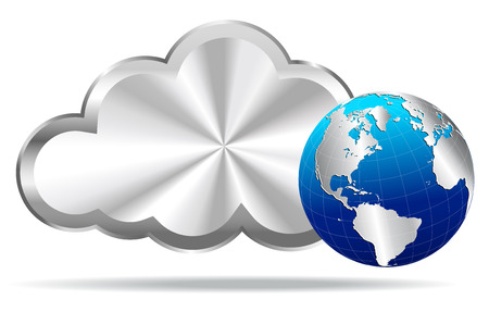 Silver Cloud with Earth Globe - Cloud Computing  Vector