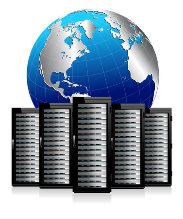 Five Network Servers with Globe - Information technology conceptual image 免版税图像 - 27163737