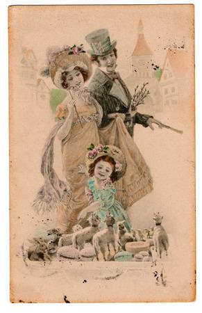 Vintage Edwardian Victorian Postcard 스톡 콘텐츠