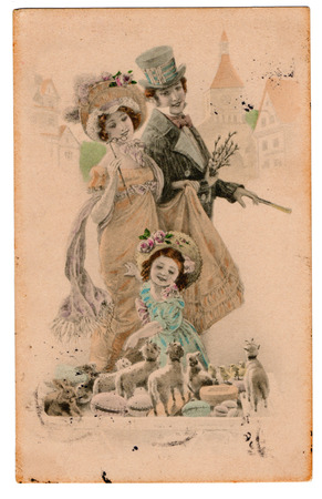 Vintage Edwardian Victorian Postcard Stock Photo