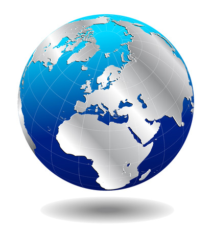 east europe: Europe Silver Global World  Illustration