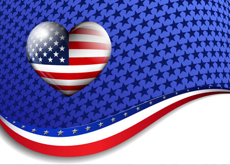 American Background with a Stairs and Stripes Heart Vector