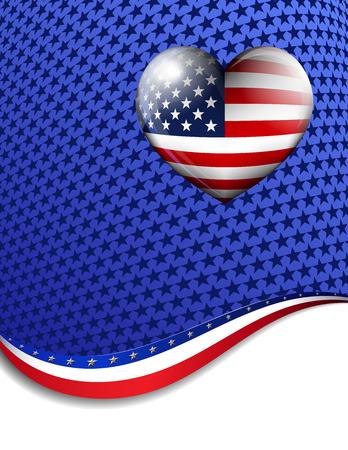 LOVE AMERICA - Stars   Stripes American Background Vector
