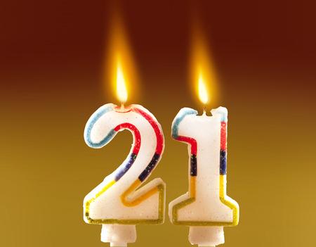 21st Birthday - Candles 스톡 콘텐츠