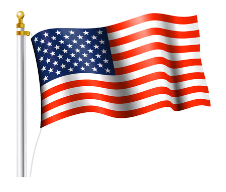 president of the usa: American Flag on Flag Pole Illustration