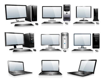 3 D と 2 D のコンピューター  イラスト・ベクター素材