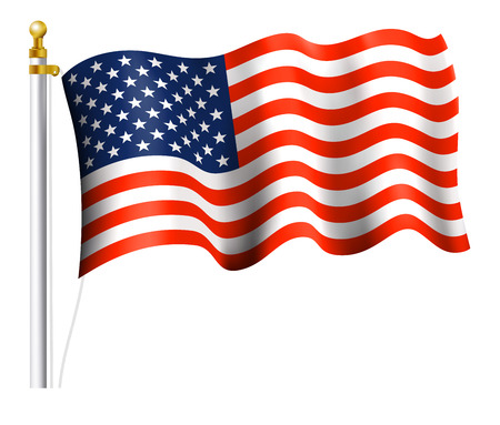 star spangled: American Flag on Flag Pole Illustration