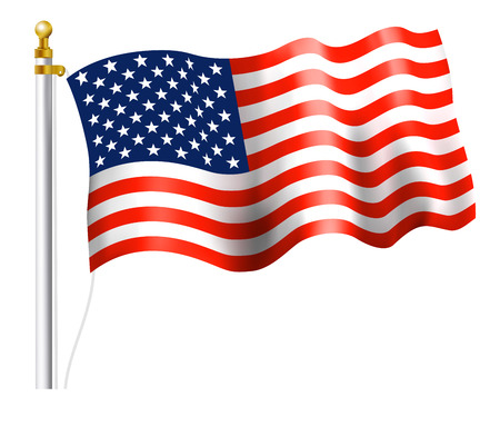 american flag on flag pole royalty free cliparts vectors and stock rh 123rf com American Flag Waving Clip Art American Flag Clip Art Animated
