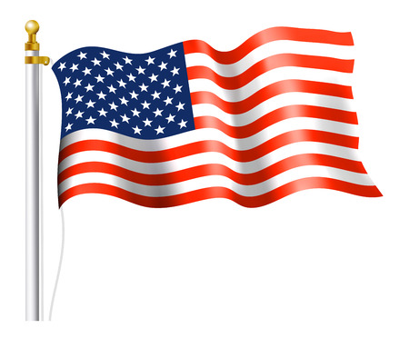 stripe: American Flag on Flag Pole Illustration