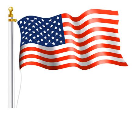 flag pole: American Flag on Flag Pole Illustration